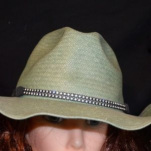 62d3fb320de Rodeo Cowgirl Straw Hat Wrangler Green w bling